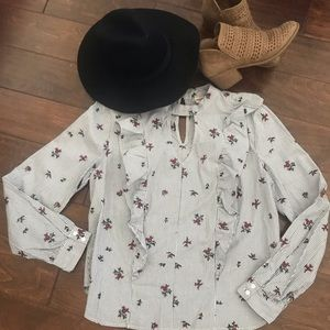 Mossimo•Embroidered Roses Blouse